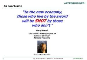 """นวัตกรรมรากฐาน : """"บุคคลมีชีวิตอยู่ด้วยดาบจะถูกยิงโดยบุคคลไม่มีดาบ"""""""